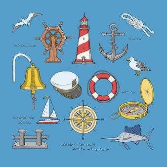 Seemarine oder nautische symbole leuchtturm und schiffsradillustrations-seesatz von segelbootanker oder rettungsring mit möwe auf hintergrund