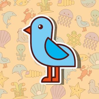Seemöwenvogel-seelebenkarikatur