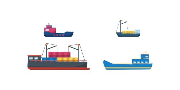 Seemotorschiffe, ozeansegelboote, yachten und katamarane, isolierter seetransport. traditionelle seeschiffe, sammlung von seetransporten. lieferung kreuzfahrtschiff und segelboot. illustration