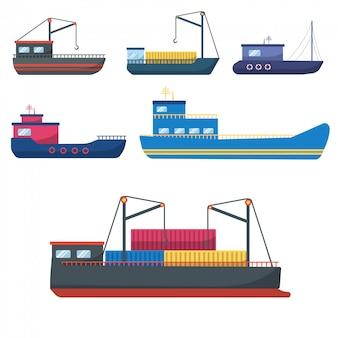Seemotorschiffe, seesegelboote, seetransport.