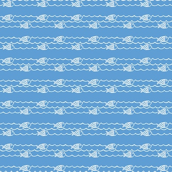 Seemuster, fische auf wellen. sommer hintergrund. elegante und luxuriöse stilillustration