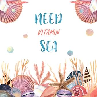 Seeoberteilmeeresflora und -fauna-sommerzeitreise auf dem strand