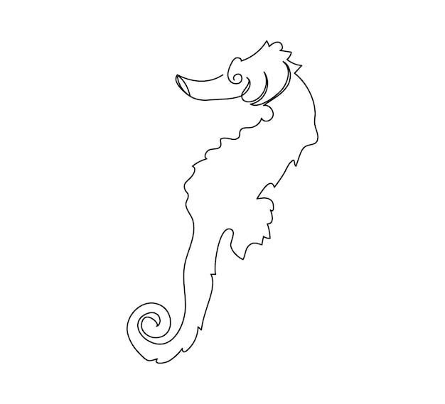 Seepferdchen hippocampus guttulatus strichzeichnung eine strichzeichnung von fisch syngnathidae meerestier