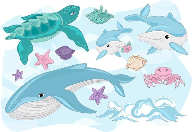 Seereise-clipart-farbvektor-illustrations-satz