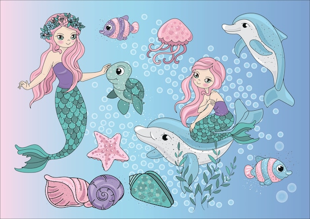 Seereise-clipart-farbvektor-illustrations-satz