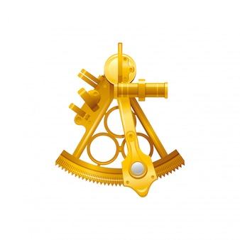 Seereisesymbol lokalisiert auf weißem hintergrund. goldene sextantillustration des retro retro 3d. cartoon niedliche ikone. sommerferien zeichen. seafarer day clipart