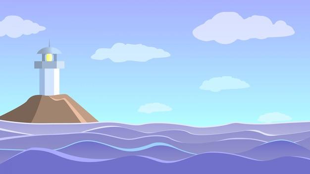 Seestück mit leuchtturm. meereswellen und blauer himmel mit wolken.