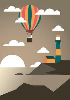 Seestück mit leuchtturm- und ballonluftheißabenteuer-reiselandschaftsszenenvektorillustrationsentwurf