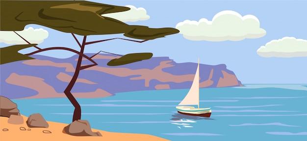 Seestück, segelboot, palmen, illustration