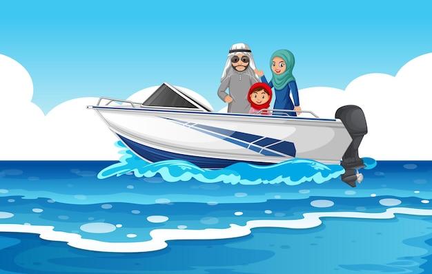 Seeszene mit arabischer familie auf dem schnellboot