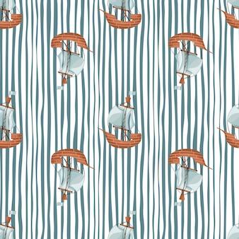 Seetransport nahtloses muster mit einfachen silhouetten des segelbootschiffs. gestreifter blauer und weißer hintergrund. entworfen für stoffdesign, textildruck, verpackung, abdeckung. vektor-illustration.