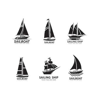 Seetransportfahrzeug design segelboot silhouetten gesetzt