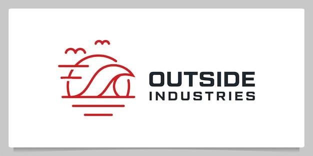 Segel strand im freien linie umriss logo design