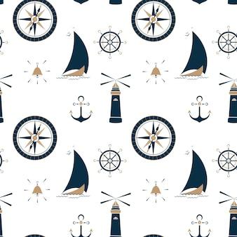 Segelboot auf den wellen, leuchtfeuer, anker, lenkrad und seekompass nahtloses muster.