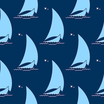 Segelboot auf den wellen vor dem hintergrund des nahtlosen musters des nachthimmels.