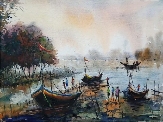 Segelboot der aquarellmalerei auf der flusslandschaftsillustration