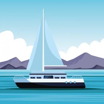 Segelboot-landschaftskarikatur