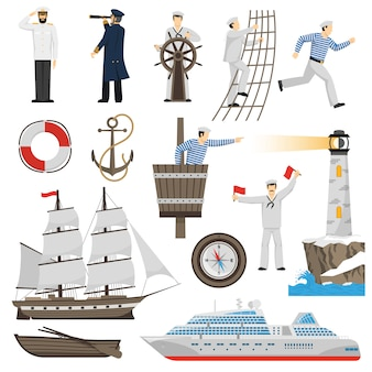 Segelboot schiff attribute icons set