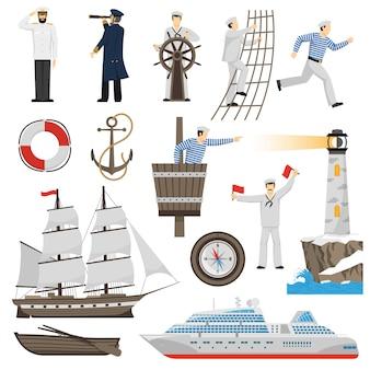 Segelboot schiff attribute icons set