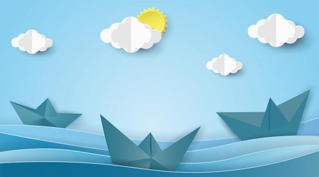 Segelboote auf der ozeanlandschaft mit sommerkonzept.