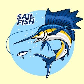Segelfisch, der versucht, den fischköder zu essen