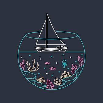 Segeln sie zum ozean illustration in der hand gezeichnet