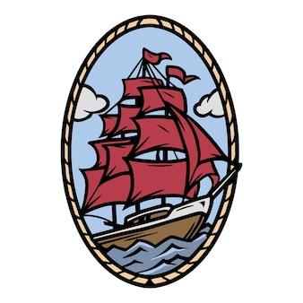 Segelschiff buntes tattoo-konzept im vintage-stil isolierte vektorillustration