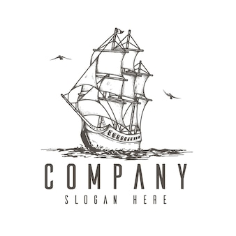 Segelschiff-logo-konzept, flache logo-skizze, logo-vorlage für unternehmen