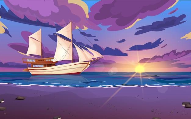 Segelschiff mit schwarzen flaggen. holzsegelboot auf dem wasser. sonnenuntergang oder sonnenaufgang