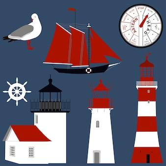 Segelschiff, möwe, lenkrad und leuchttürme.