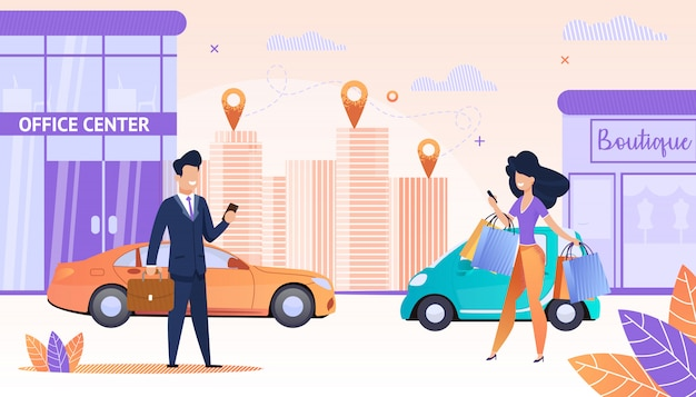 Sehen sie sich streets big city mit menschen an, die eine app verwenden