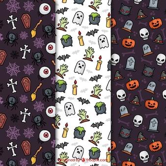 Sehr detaillierte muster für halloween-design