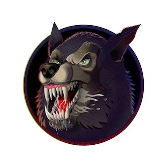 Sehr gefährliches wütendes symbolgesicht wilder wolfshund, der aggressiv große scharfe zähne zeigt.