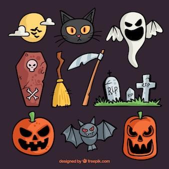 Sehr nette sammlung von halloween-elementen
