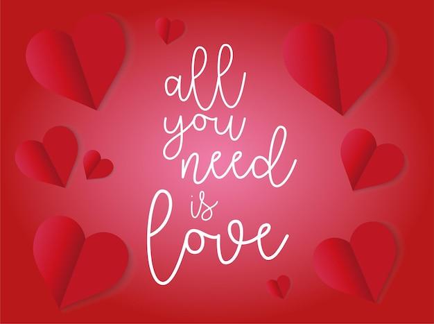 Sehr romantische liebesvektorkarte zum valentinstag