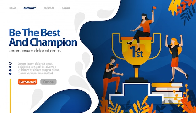 Sei der beste und champion, trophäe für die nummer eins