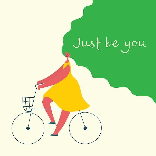 Sei einfach du. dich selbst lieben. vektor-lifestyle-konzeptkarte mit text vergessen sie nicht, sich im flachen stil zu lieben