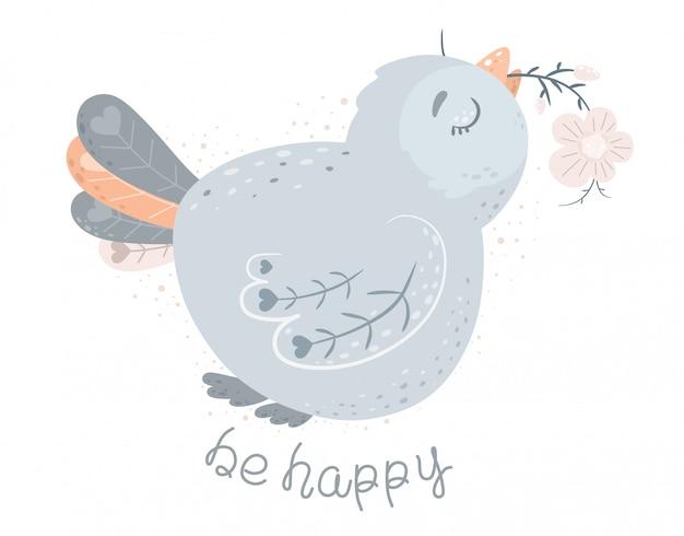 Sei glücklich. netter vogel mit einer blume im schnabel. illustration im skandinavischen cartoon-stil.