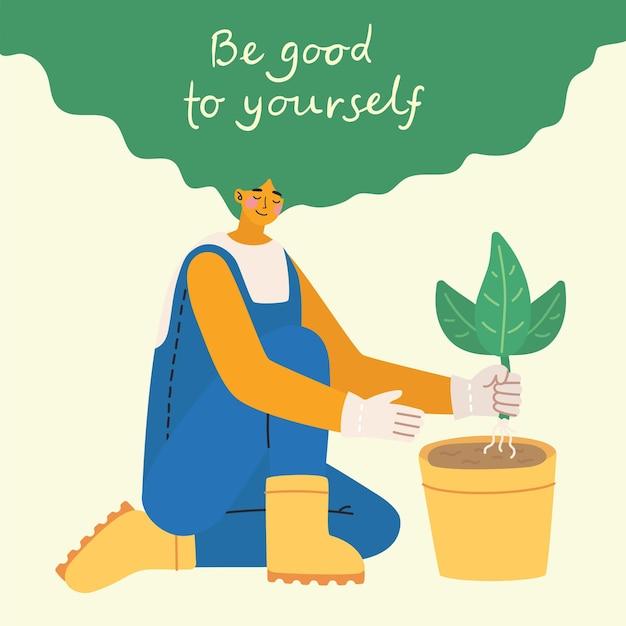 Sei gut zu dir. dich selbst lieben. vektor-lifestyle-konzeptkarte mit text vergessen sie nicht, sich im flachen stil zu lieben