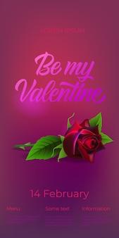 Sei mein valentine-schriftzug mit rose