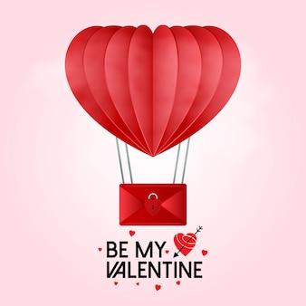 Sei mein valentinsgruß mit heißluftballon der herzen