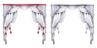 Seide, Samtvorhänge mit roten oder weißen Quasten. Theatervorhang mit Falten.