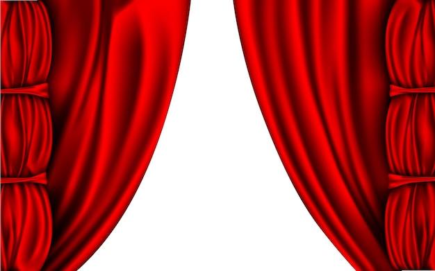 Seidenvorhänge rote farben isoliert auf weißem hintergrund