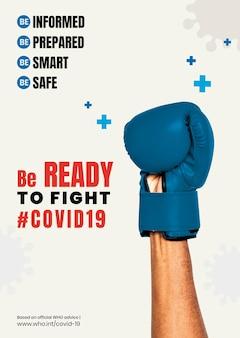 Seien sie bereit, den covid-19-vorlagenvektor zu bekämpfen