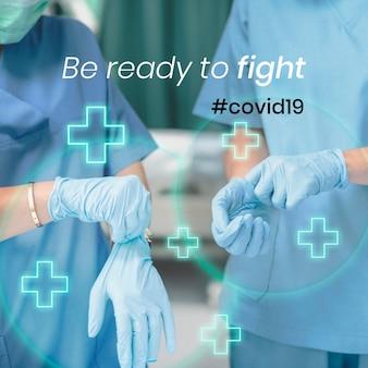Seien sie bereit, den medizinischen social-banner-vektor von covid-19 zu bekämpfen