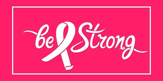Seien sie eine starke handgezeichnete motivationsinschrift mit band. nationales symbol für den monat des brustkrebs-bewusstseins.