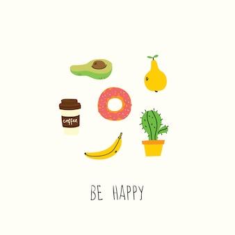 Seien sie glücklich, also viel glück handgezeichnetes doodle vorgefertigtes logo im cartoon-stil und flachem design