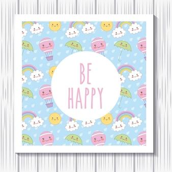 Seien sie glückliche kartenregenbogenwolken-luftballon kawaii karikatur