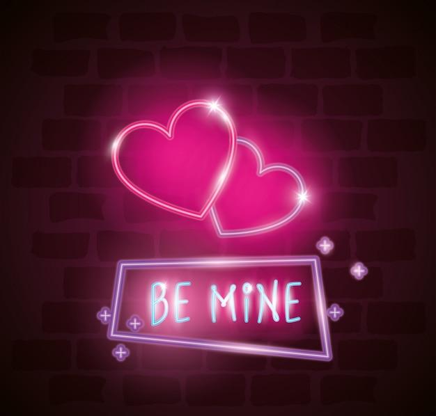 Seien sie mein aufkleber im neonlicht, valentinstagillustration