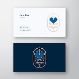 Seien sie mein valentinsgruß abstraktes lockiges herzrahmenetikett und visitenkartenschablone gold und blaue farben gr...